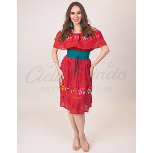 Mexican Campesina Dress Red